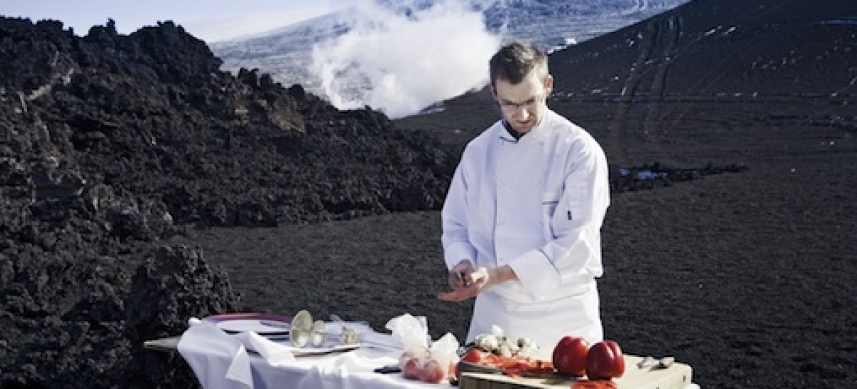 Chef Cooks BBQ on Volcano